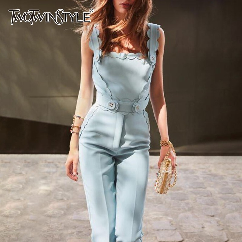 TWOTWINSTYLE Casual Blue Jumpsuits For Women Sleeveless Tops With Sashes Straight Full Length Pants Female 2019 Summer New