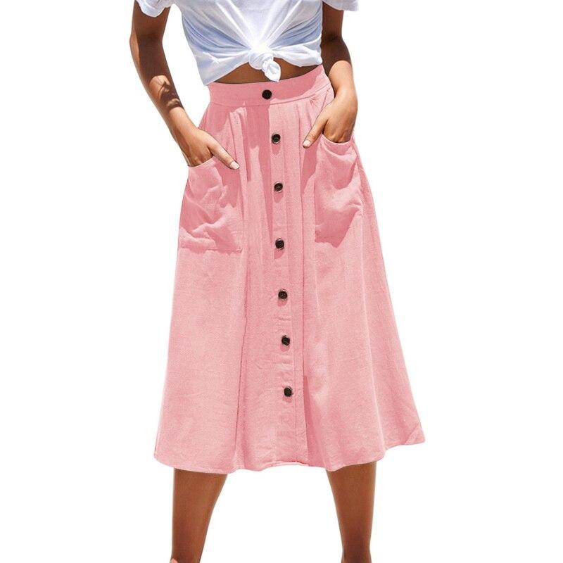 nuevo concepto d60b8 c4caf € 3.34 51% de DESCUENTO|SHUJIN 2019 mujer falda Vintage verano Casual  botones diseño playa Faldas Mujer moda sólida bolsillos Streetwear Falda ...