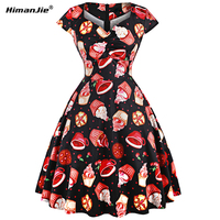 Himanjie New Fashion 1950s Pinup Vintage Rockabilly Dress Slim Retro 3D Funny Cake Print Dresses Plus