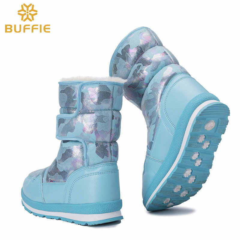Sıcak botlar Turkuaz Mavi moda renk kış 2018 yeni stil kadın ayakkabısı su geçirmez üst kalın peluş astarı popüler satış