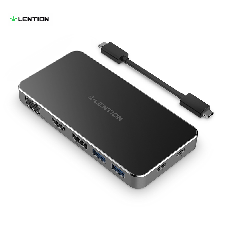 Lention 7-in-1 Multifunction USB C Hub with Type-C 4K Video HDMI/VGA/DisplayPart Port Power Delivery Adapter USB Hub for MacBook usb adapter hdmi 4k usb 3 1 usb type c hub data syncing