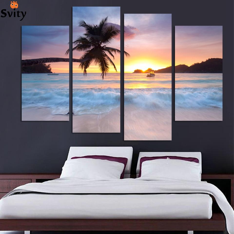 4 Panel malba Doprava zdarma oceán moře umění plátno Nástěnné umění umění západ slunce žlutá Obrázek Moderní obývací pokoj Dekorativní