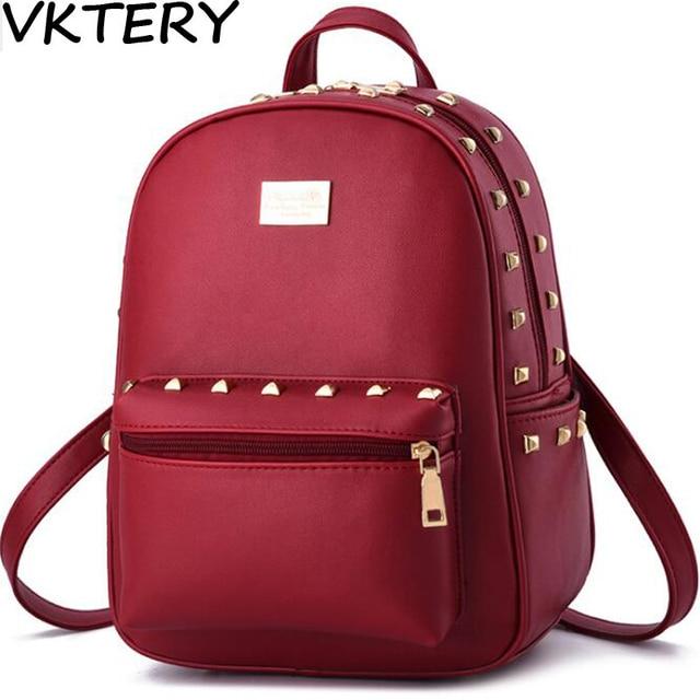 8596ef4250d1 2017 new female bag bag leather backpack bag Feminina big family girl solid  candy pink beige blue green