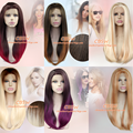 10 kinds color ombre wig dark brown Red Purple Blonde Long straight synthetic lace front wig heat resistant fiber wig