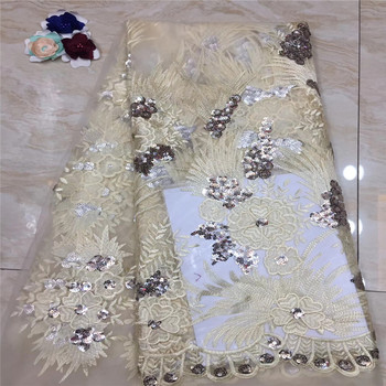 Madison Newest Arrival Beautiful French Sequins Lace Fabric Net Champange Fashionable Bright African Lace Fabric For Party Dress