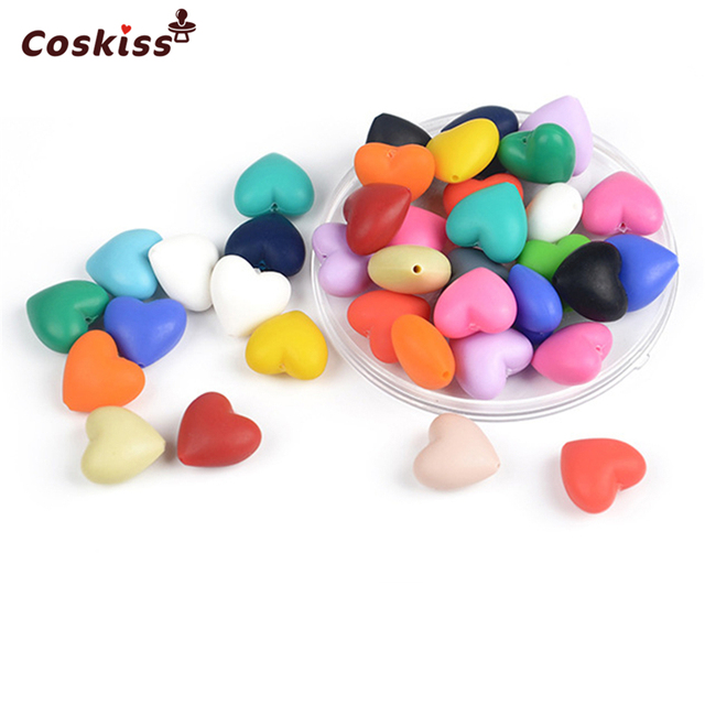 Mixed Color Natural Heart-shaped Silicone Beads Food Grade Silicone Beads Baby Teether Toys DIY Necklace/ Bracelet Accessories