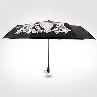 Creative Encountered Change Color Cute Owl Three Folding Magic Umbrella Rain Women Mujer Novelty Items Good