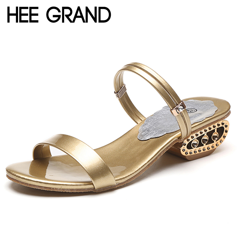 HEE GRAND Gold Silver Gladiator Sandals 2017 Summer Beach High Heels Platform Fashion Slip On Shoes Woman Size 35-41 XWZ4066 hee grand lace up gladiator sandals 2017 summer platform flats shoes woman casual creepers fashion beach women shoes xwz4085