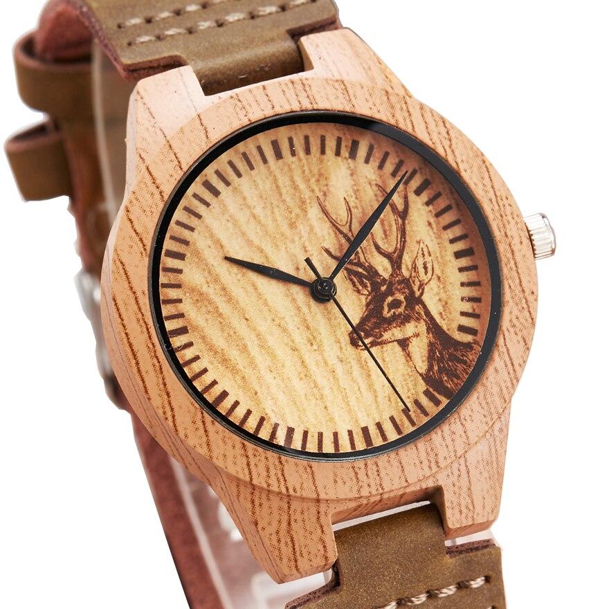 Animal Deer Imitation Wood Watch Men Women Couple Wooden Wristwatch Imitate Watches Acrylic Man Male Quartz Wrist Clock Reloj
