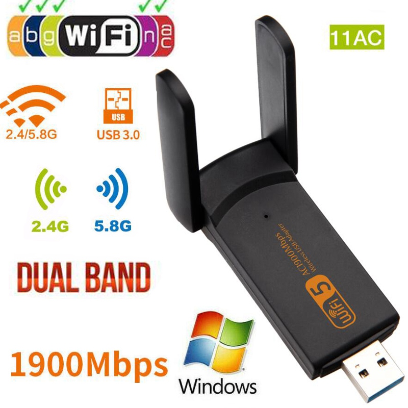 Wireless USB WiFi Adapter 1900Mbps wi fi Dongle PC Network Card Dual Band wifi 5Ghz Adapter Lan USB Ethernet  11AC WiFI Receiver