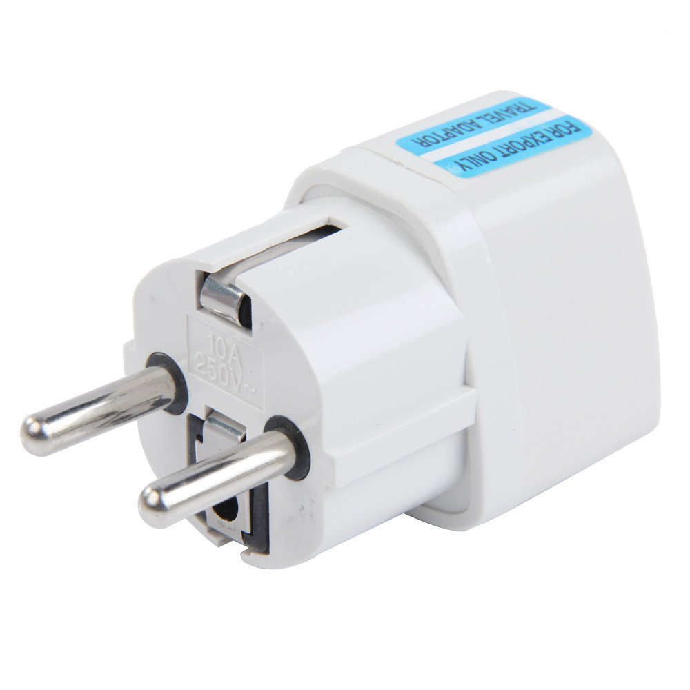 White Travel Plug Travel Adapter US / UK to EU plug 10A 250V