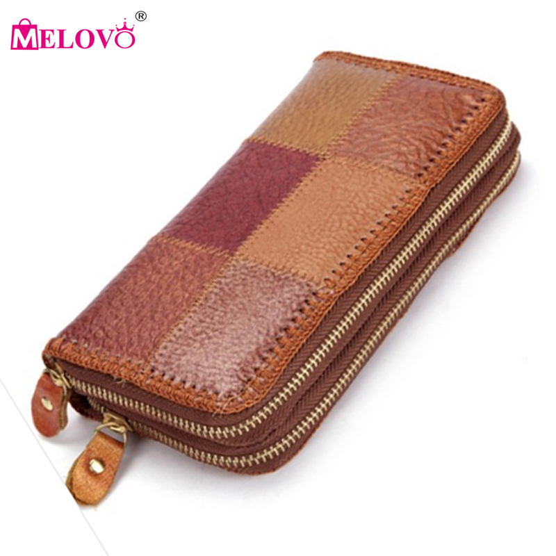 Unisex Double Zipper Vintage Genuine Leather Wallets Purse Women's Day Cluthes Purse Wallets Wrist Hand Mobile Phone Bags P34