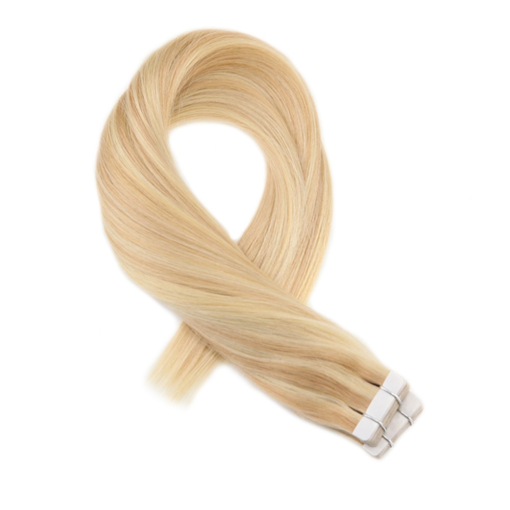 Moresoo Human Hair Extensions Tape In Hair Highlight Color Brazilian Machine Remy Hair Extensions #16 Highlight With Blonde