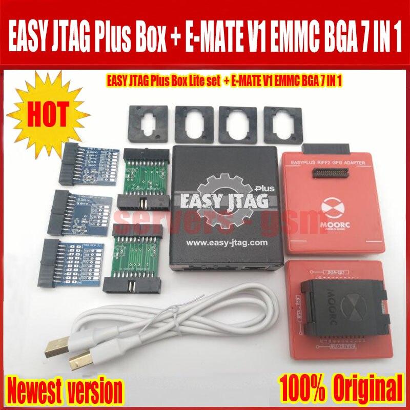 2018 Date D'origine Facile jtag plus boîte + E-MATE V1 Emate boîte MEM BGA 7 EN 1, livraison Gratuite
