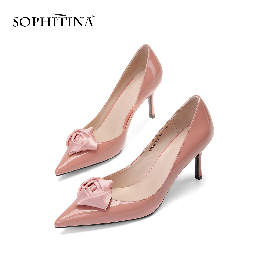 SOPHITINA Thin Heels Women s Pumps Patent Leather Pointed Toe Shoes Wedding Elegant Ladies Shoes Party