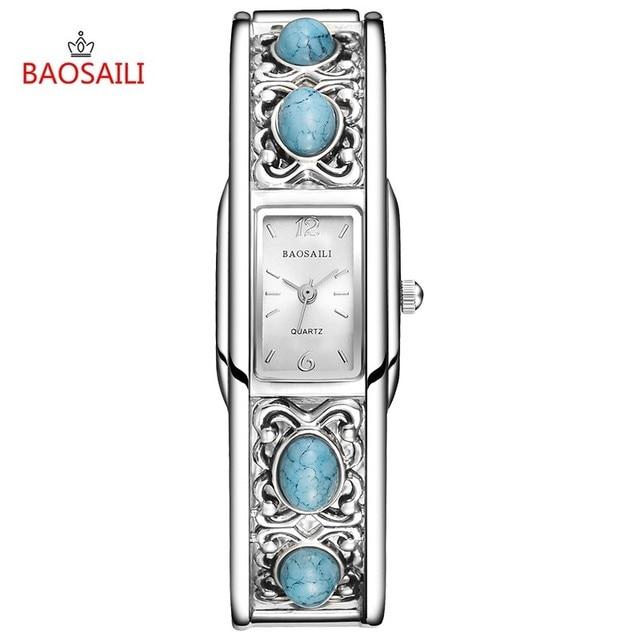 Luxury Design Bangle Bracelet Watch Women Elegent Artificial Turquoise Watches Girls Geneva Quartz Wrist Watch Dress Clock 46