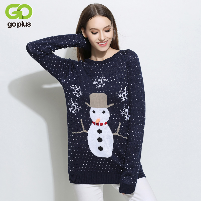 GOPLUS Christmas Long Sweaters Snowflake Snowman Print Knitting Pullover Women Long Sleeves tunic Jumpers C4772