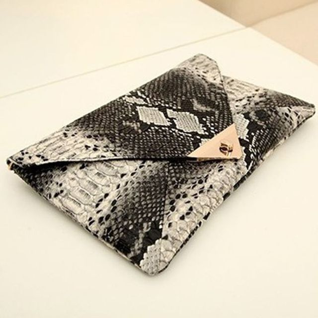 New Fashion Women's Synthetic Leather Messenger Bag Boa Snake Skin Envelope Bag Day Clutche Purse Lady Evening Bag D42 2