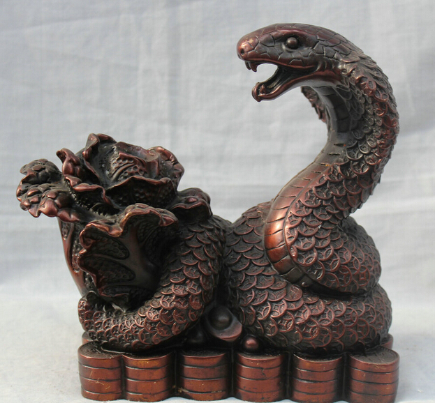 JP S0524 Chinese Fengshui Bronze Zodiac Year Snake Bring Money Wealth ( Cabbage ) Statue (B0413)