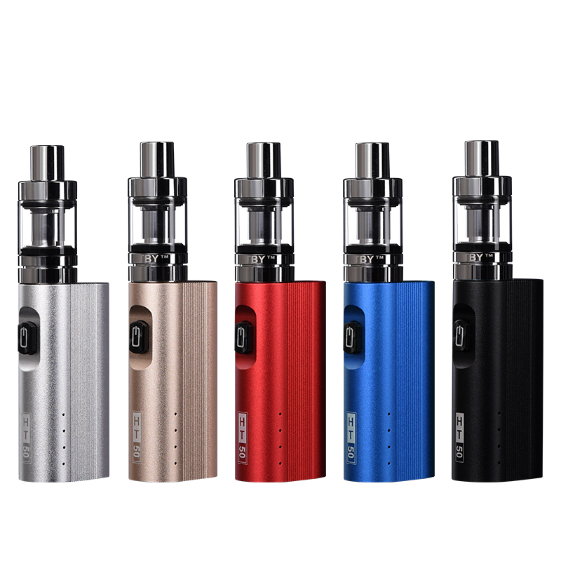 , hot 50w box mod HT50 electronic cigarette vaporizer kit 2200mah e cigarette 510 thread 2.0ML tank e-cigarette vape pen kit