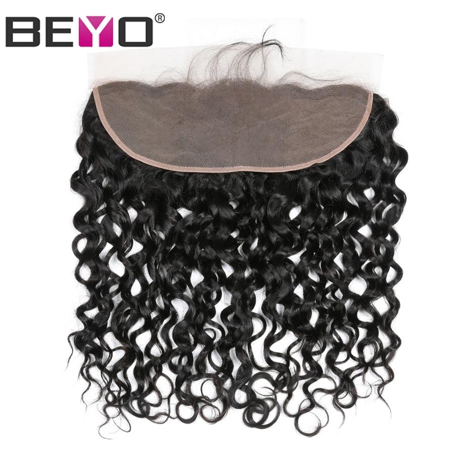 Beyo 13x4 Ear To Ear Lace Frontal 100 Human Hair Closure Peruvian Water Wave Hair Pre