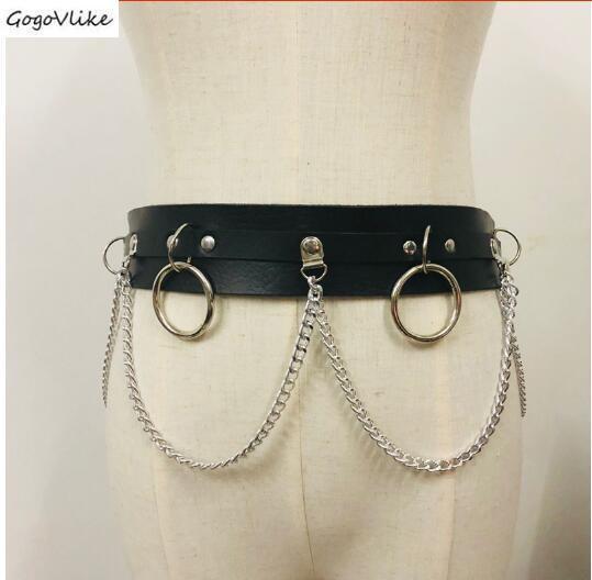PU Leather Cummerbund Metal Chains 2019 Slim Women Waist Belt Shirt Dress Accessories Vintage Waist Belts Punk Hiphop SA093S50