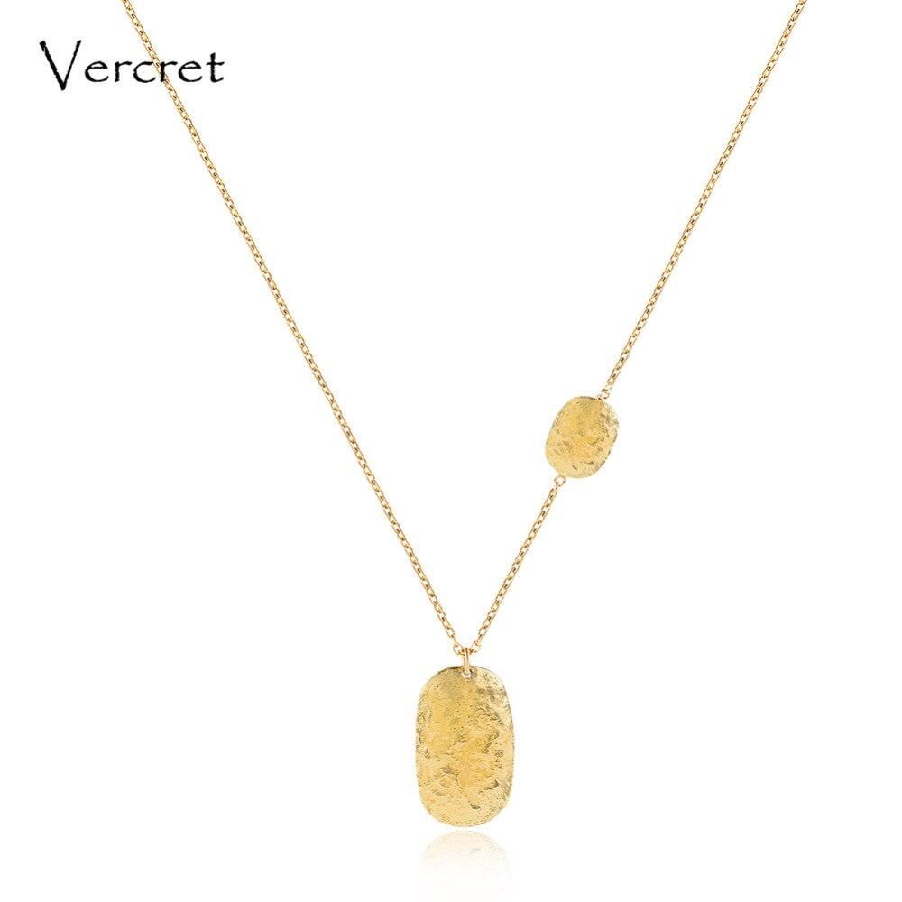 Collier pendentif martelé en argent sterling 925 simple Vercret collier chaîne en or 18 k fait à la main bijoux pour femmes cadeau prévente