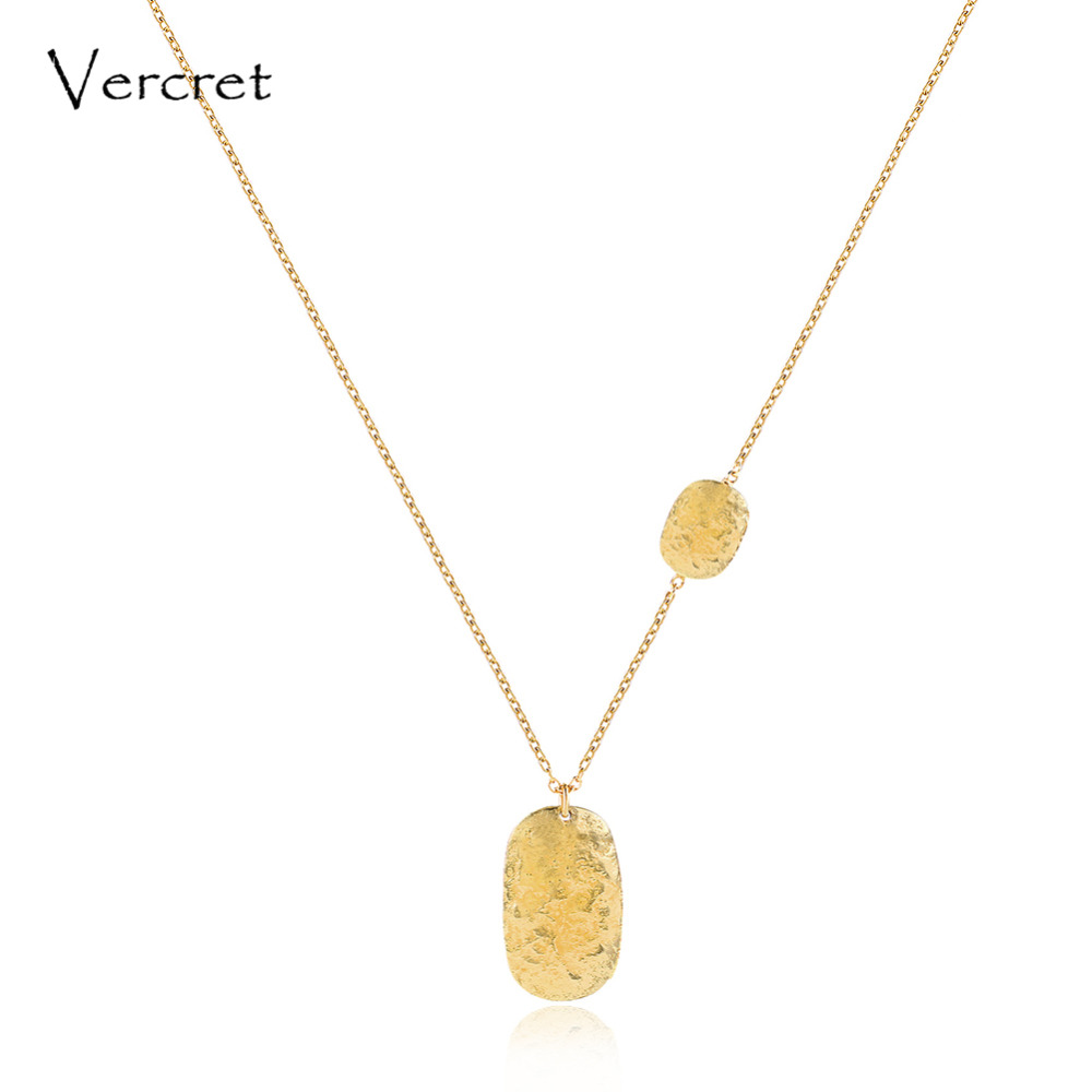 Vercret simple 925 sterling silver hammered pendent necklace 18k gold chain necklace handmade women's jewelry gift image