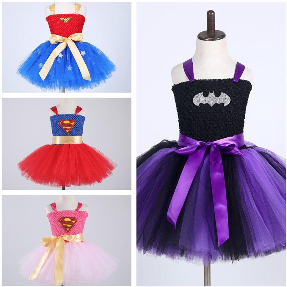 Batman Kids Girls Tutu Dress Superhero Halloween Christmas Birthday Party Costume Wonder Woman Superman Cartoon Cosplay Dress