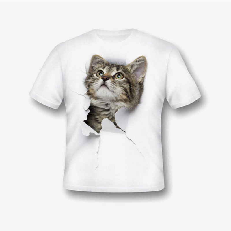 GUMPRUN Fashion boys T-shirt Cotton Cat Printing top Creative Boy T-shirt Round Neck Short Sleeves Shirt children Clothes trendy slimming round neck short sleeves button design solid color t shirt for men