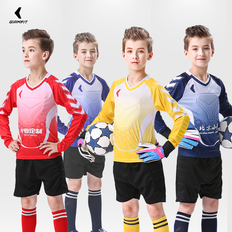 JIANFEI Kids Soccer Jersey American Football Sets Sport GoalKeeper Training Team Uniform Thickened Protection Custom Number Logo