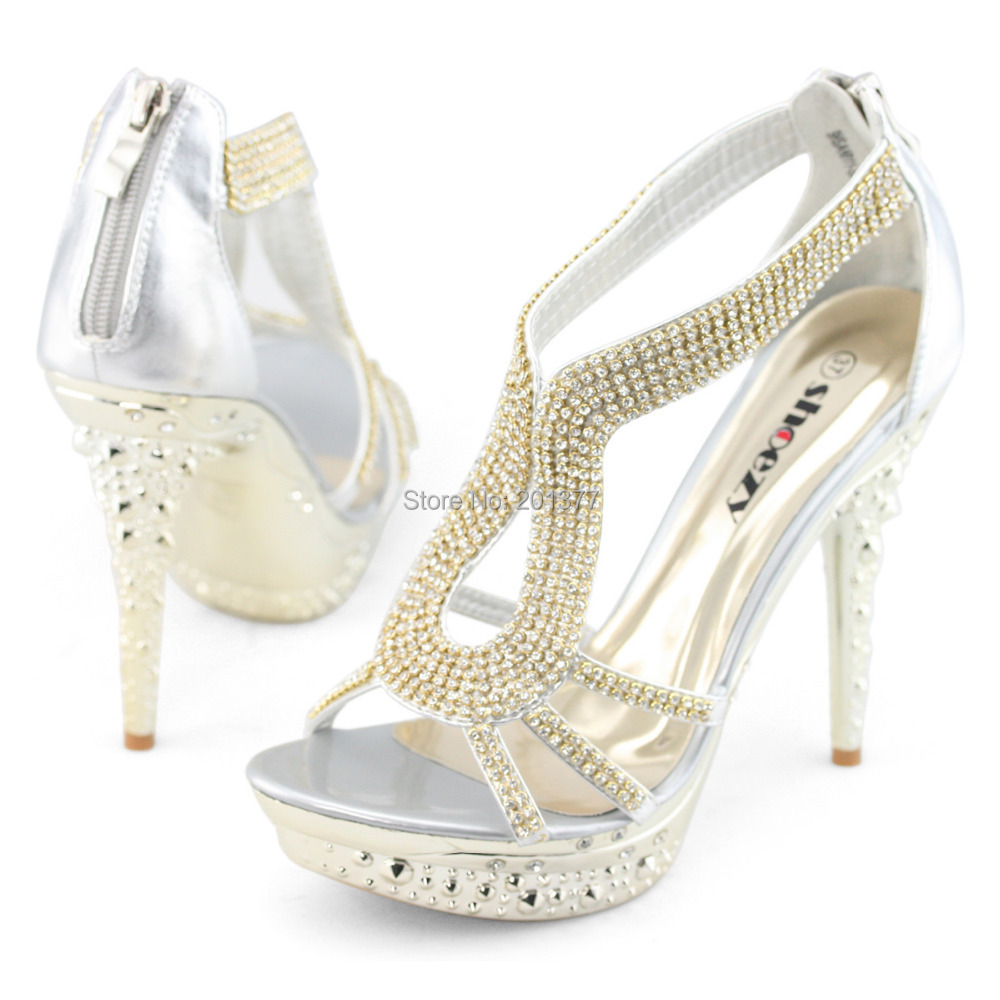 bebcceb5362ec2 SHOEZY women sexy high heels gladiator sandals platform open toe strappy  wedding shoes silver gold crystal for ladies prom new