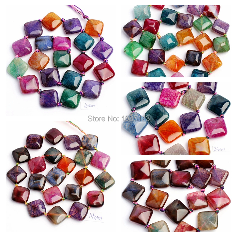 Free Shipping 12,14.16.18,20mm Faceted Cracked Multicolor Agates Rhombic Shape DIY Loose Beads Strand 15 Jewellery Making wj31