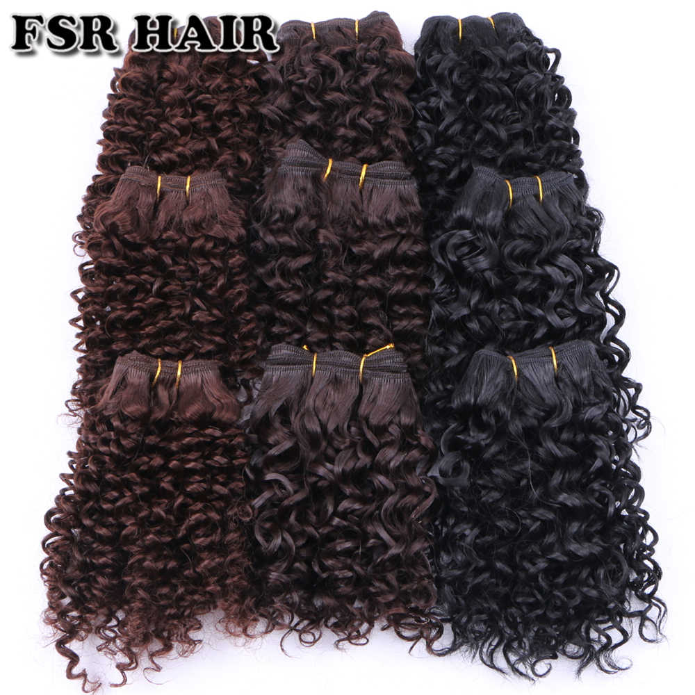 FSR Synthetic Hair weave Short Kinky Curly hair weaving 6 pieces/Lot 210g hair product