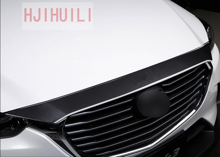 цена 2015 2016 2017 2018 Accessories For Mazda CX-3 CX3 CX 3 ABS Carbon Fibre Front Grille Hood Trim car styling 1pcs