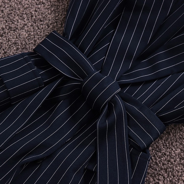 listrado laço-up colete blusa cintura alta ampla