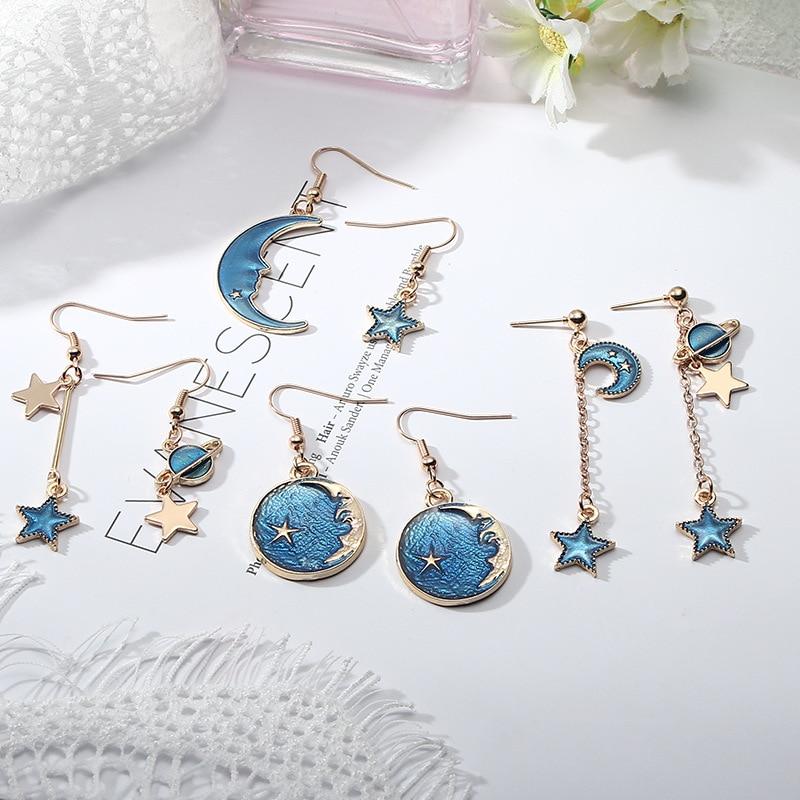 Korean Romantic Planet Star Moon Drop Earrings For Women Jewelry Asymmetric Long Dangle Earrings Girl Female Statement Earrings