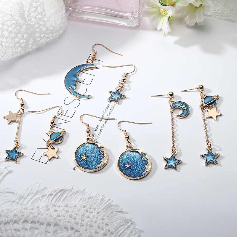 Korean Romantic Planet Star Moon Drop Earrings For Women Jewelry Asymmetric Long Dangle Earrings Girl Female Statement Earrings