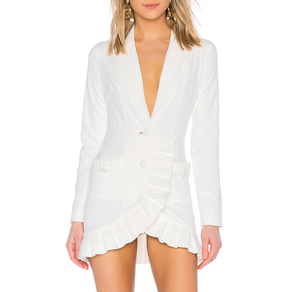 Adyce 2019 New Spring Women Slim Trench Coat Sexy White Deep V Double Button Celebrity Party