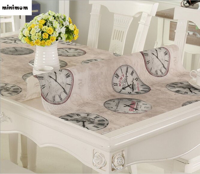 Soft Glass Tablecloth Waterproof PVC Printing Plastic Scrub Table Mats  Coffee Mats Crystal Plate Tablecloths Free