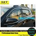 A & T Ventanas visor car styling Chrome Deflector de Viento Viso Lluvia/Sol guardia Vent FIT For 2013 2014 Toyota RAV 4 protector de la Lluvia del Coche un