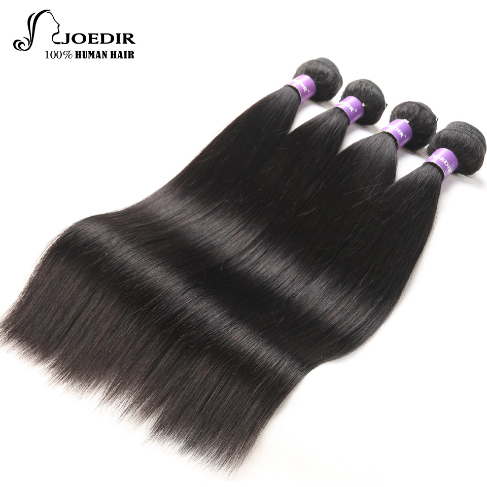 Joedir Hair Brazilian Straight Hair Bundles Human Hair Weave 4 Bundles Deal Natural Black Non-Remy Hair Extention Free Shipping