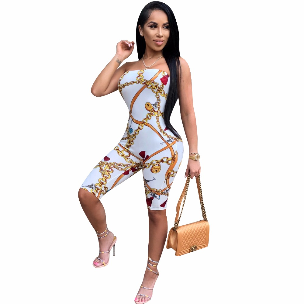 Adogirl Fashion Print Strapless Bodysuit Stretch Women Short Jumpsuit Sexy Casual Romper ...