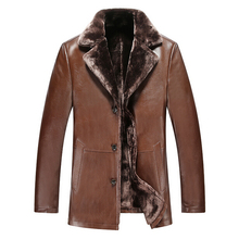 Free Shipping Leather Thick Warm Coat For Men Wool Liner Jacket Lambskin Clothes For Men 2 Colors Plus Size