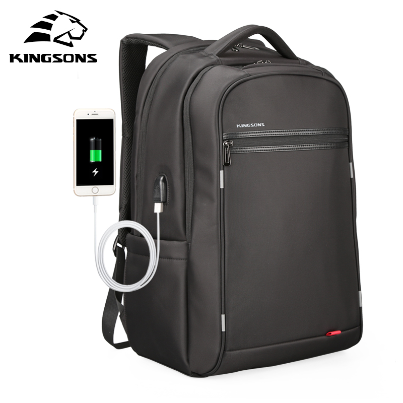 Kingsons 17 inch Laptop Backpack For Men Business Waterproof Backpacks USB Charging Large Capacity Bag Casual Travel Backpack
