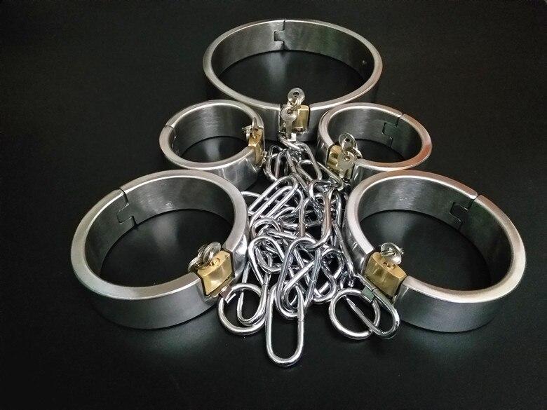 Секс Инструменты для продажи 5 шт./компл. тяжелые взрослых воротник наручники лодыжки Браслеты пикантные Секс-игрушки садо комплект секс иг...