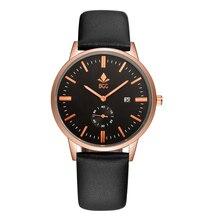 BGG Nueva Marca de Moda de Lujo Color de Rosa de Oro Los Hombres Calendario Hombres Reloj Resistente Al Agua Correa de Cuero de Cuarzo Vestido Ocasional Relojes Relogios