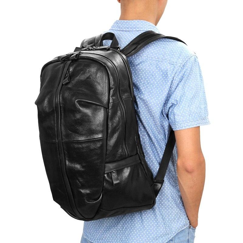J.M.D Genuine Leather Men's Shoulders Large Leather Backpacks Black Large Capacity Backpack For Adult 7340A