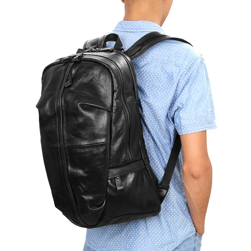 J.M.D Genuine Leather Mens Shoulders Large Leather Backpacks Black Large Capacity Backpack For Adult 7340A ...