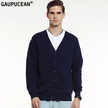 Фотография Genuine Gaupucean Man Cardigan 100% Cotton Long Sleeve Navy Blue Grey Autumn Knitwear Single Breasted Round Neck Men Sweater